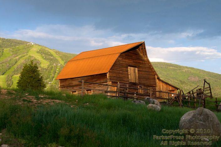 Steamboat Barn at twilight