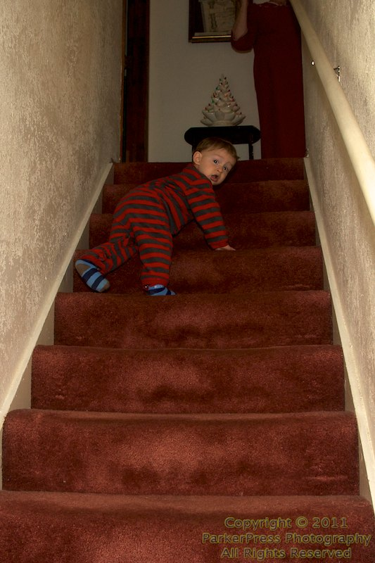 Cameron on the same stair case we played on as kids